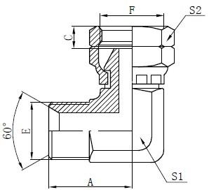 BSP-kyynärpääliitoksen piirustus