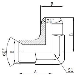 BSP-hydraulisovittimen piirustus
