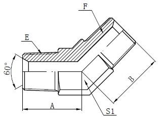 BSPT-urosliittimen piirustus