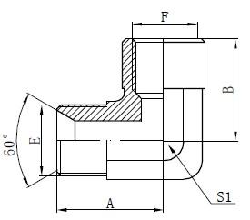 Kyynärpää BSP-sovittimen liittimet Piirustus