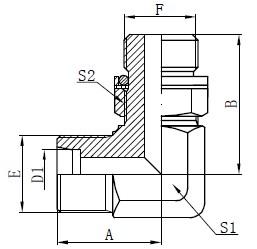 Kyynärpää hydraulisovittimet Piirustus