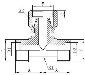 Metrinen naarasletkun piirustus